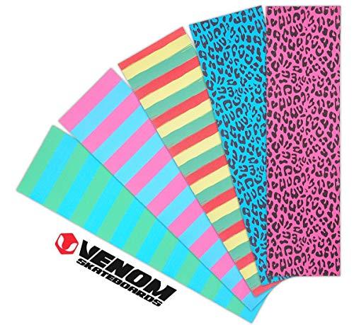 Venom Skateboards-Griffband für Skateboards, 23 x 84 cm, Neonfarben, Rasta gestreift