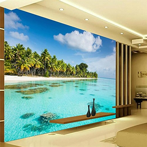 Sproud Wallpaper 3D Beach Can Be Light Background Modern European Mural For The Living Room Home Decoration Papel Pintado 250cmX175cm
