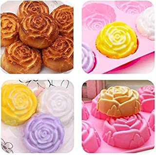 RILEX Silicone 6 Cavity Rose Shape Cake Mould Chocolate Soap Mould Baking Mould Soap Making Candle Craft (Rose Mould Multi...