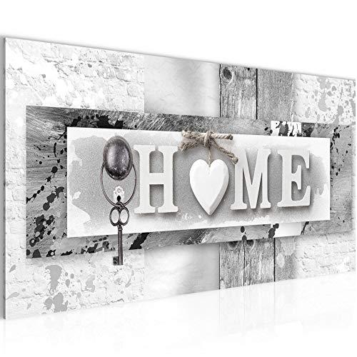 Bilder Home Wandbild Vlies - Leinwand Bild XXL Format Wandbilder Wohnzimmer Wohnung Deko Kunstdrucke Grau 1 Teilig - MADE IN GERMANY - Fertig zum Aufhängen 013712c