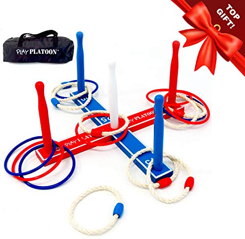 Premium Ring Toss Game Set for Kids & Adults - Includes 8 Rope & 8 Plastic Rings...