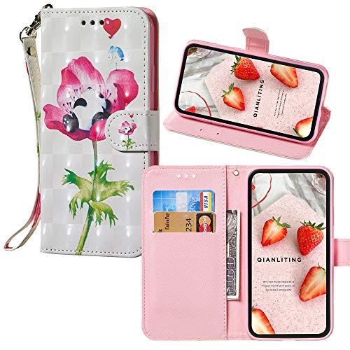 Galaxy J1 (6) 3D Colorful Wallet Custodia,per Samsung J1 SM-J120 Painted PU Leather Folio Phone Cover - Flower & Panda