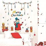 manyaxiaopu Adesivo Murale Rimovibile in PVC con Decorazione in Vetro per Finestra di Natale 60X90Cm