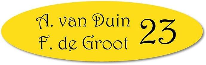 Naamplaatje geel ovaal t.b.v. brievenbus, 10x3 cm