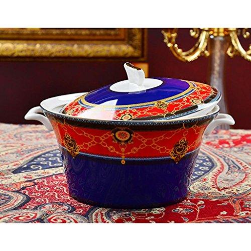 MXJ61 Assiette de Soupe en céramique avec Couvercle 9 Pouces Soupe à la Maison