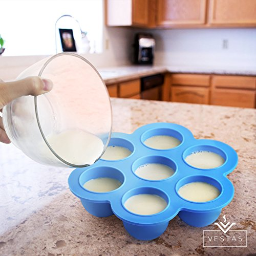 Vestas Silicone Egg Molds for Instant Pot Accessories – Fits Instant Pot 5, 6, 8 qt Pressure Cooker – Oven Baking Egg Mold for Quick Shaped Egg Bites | Reusable Storage Container Freezer Tray with Lid