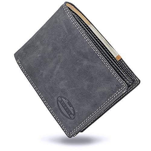 Akzent Geldbeutel für Männer aus echtem Leder in schwarz grau | 11 Kartenfächer | Vintage Look (Schwarz)