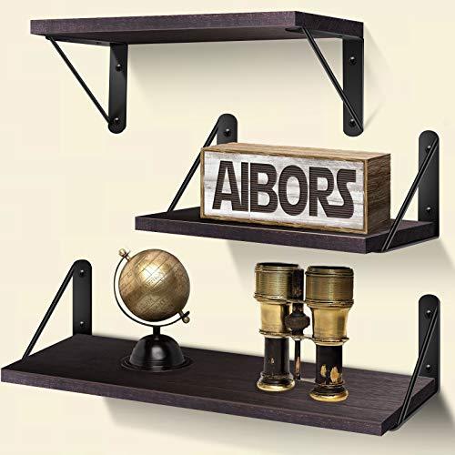 AIBORS Schweberegal Wandregal 3er Set, Rustikale Holzwandregale Dekor ideal für Küche Badezimmer Flur Wohnzimmer(Dunkel- Braun)