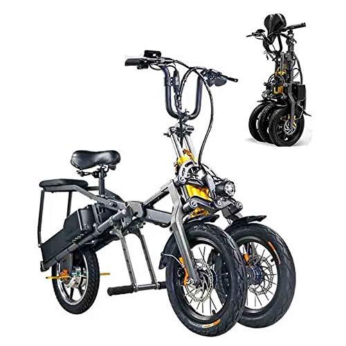 Bicicleta Eléctrica, Eléctrica Triciclo Plegable Para Adultos Tres Ruedas, Bicicletas De Montaña Eléctrica, Scooter Hasta 30 Km / H De La Batería De Litio Doble, Tres Modos De Velocidad,Negro