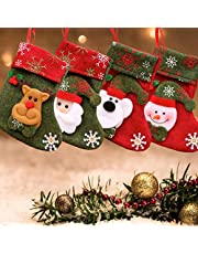LS LETONG SINIAN Calcetín de Navidad, 4 Piezas de Medias de Navidad con patrón de Reno de muñeco de Nieve de Santa   Bolsa de Dulces con Adornos navideños   Relleno y Adornos navideños Calcetín