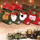 LS LETONG SINIAN Calcetín de Navidad, 4 Piezas de Medias de Navidad con patrón de Reno...