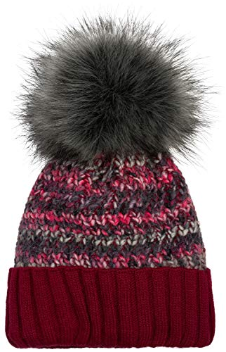 styleBREAKER Damen Bunte Strick Bommelmütze mit Fleece Futter, Winter Fellbommel Mütze 04024169, Farbe:Bordeaux-Rot-Dunkelgrau