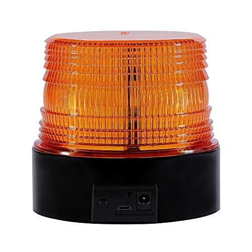 LED Rundumkennleuchte Kabellos Rundumleuchte für Auto Anhänger Wohnwagen SUV - Gelb - Magnetfuß - 12V/24 V