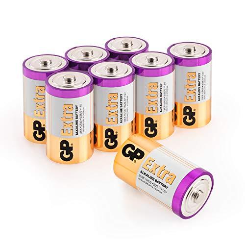 GP Extra Alkaline Batterien D (Typ Mono / LR20) Spannung 1,5 Volt (1,5V), ideal für die Stromversorgung von Geräten des täglichen Bedarfs (8 Stück Monozellen)