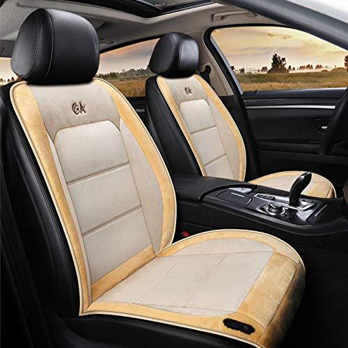 liangh 12V Beheizte Sitzauflage,Sitzheizung Auto Heizkissen,Universal Regulierbare Vordersitz Heizauflage (Schwarz 1 Stück),Beige