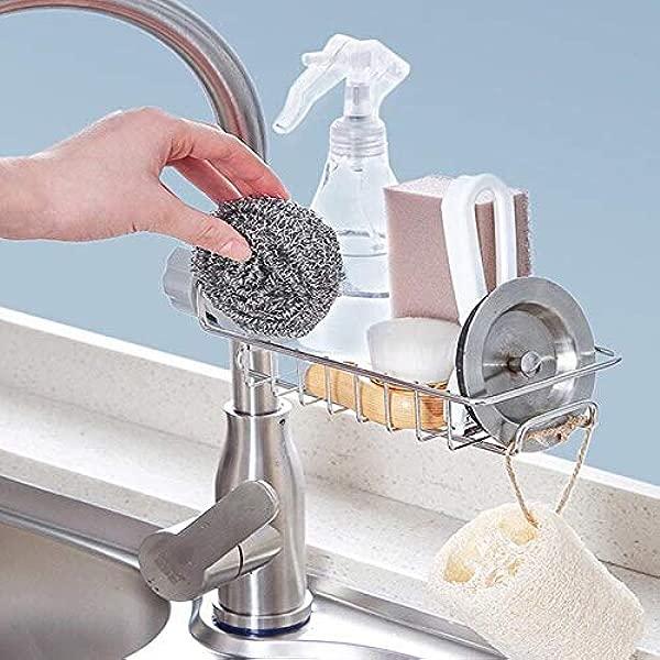 Restlandee Sink Caddy Organizer Kitchen Faucet Sponge Holder Drainer Caddy For Dishwashing Stainless Steel Faucet Storage Rack Hanging Shelf Soap Sponge Storage Rack Holder Faucet Sponge Hanging