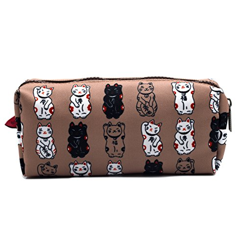 Lucky Japanese Cat Pencil Case Maneki Neko Cat Pencil Bag Pouch Case Makeup Cosmetic Bag