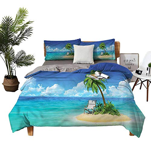 Juego de 4 fundas de cama tamaño king size silla isla pequeña y palma de la habitación de matrimonio de 68 x 90 cm