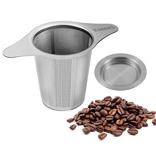 Yoassi Kaffeefilter Edelstahl Dauerfilter Wiederverwendbar Handfilter Teesieb für Tasse mit Doppel-Griff und Abtropfschale/Deckel für Kanne/Teekanne/Kaffeekanne/Töpfe
