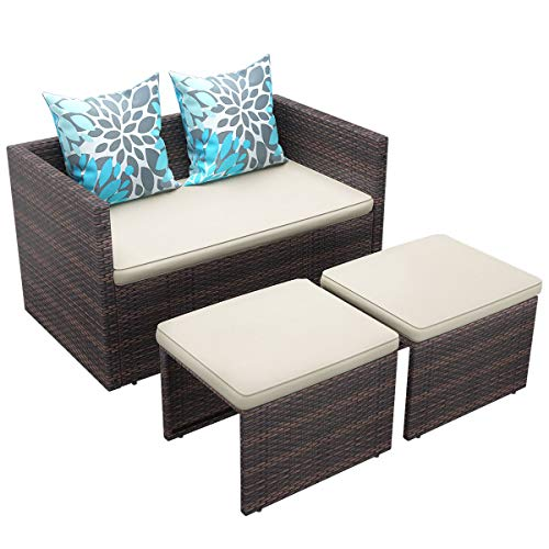 YITAHOME 4 Piece Patio Furniture Sets, Outdoor All-Weather Sectional Patio Sofa Set, Multifunctional PE Rattan Wicker Small Patio Conversation Set, Brown