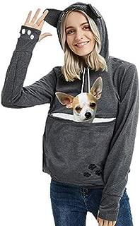Unisex Big Kangaroo Pouch Loose Fleece Hoodie Little Pet Cat Dog Holder Carrier Sweatshirts Long Sleeve Pullover (Dark Grey,XXXL)