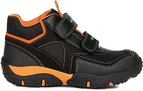 Geox Jungen High-Top Sneaker Baltic Boy WPF, Kinder Sneaker,Sportschuh,Sneaker-Stiefelette,mid-Cut,atmungsaktiv,Black/ORANGE,31 EU / 12.5 UK Child