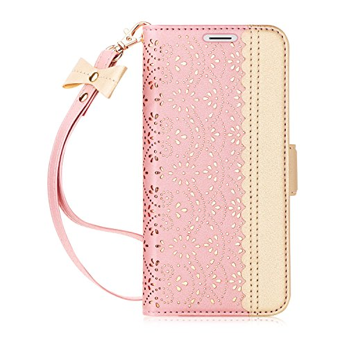 WWW iPhone Xs Max Case,iPhone Xs Max Wallet Case, [Luxurious Romantic Carved Flower] Leather Wallet Case with [Inside Makeup Mirror] and [Kickstand Feature] for iPhone Xs Max 6.5'' (2018) Rose Gold