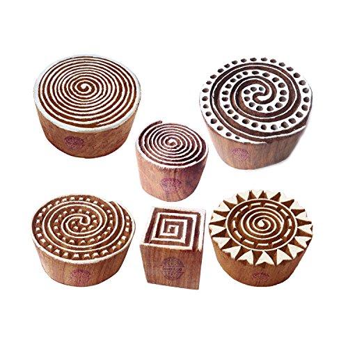 Royal Kraft Stoff Holz Stempel Indisch Swirl Runden Muster Druck Blöcke (Set von 6)
