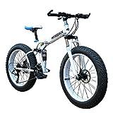 26 Zoll Mountainbike Fat Fahrrad-Off-Road Beach Folding Schnee-Fahrrad-Breitreifen-Fahrrad Mit Variabler Geschwindigkeit Dual-Bremse Und Shock Aufhängung Erwachsene Außenreit,Weiß