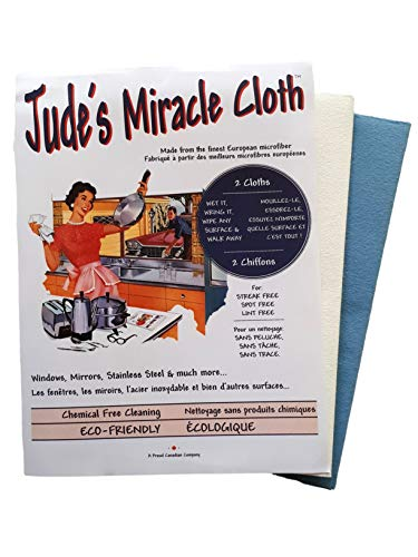 Jude's Miracle Cloth Microfiber Cleaning Cloth 2 Pack for Windows Mirrors Crystal Eye Glasses TV Computer Screen Countertops Cars & Boats Chemical Free (1 White 1 Blue)