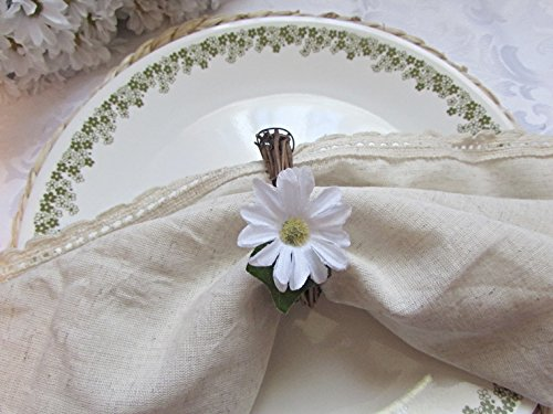 White Daisy Napkin Ring Holders- Grapevine Twig Wreath- Rustic Home Kitchen Dining Table Décor (Set of 4, 6, 8, 10, 12)