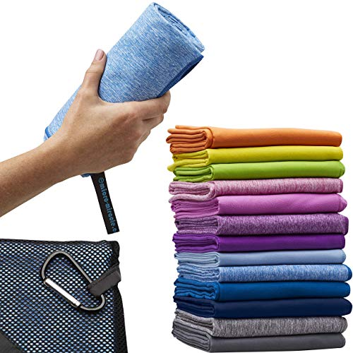 Microfiber Quick Dry Towel for Home Gym, Beach, Sports, Camping and Travel, XL 30 x 60 inch – 2 in 1 - Smaller Hand Towel Included- Super Absorbent, Extra Soft, Lightweight and Compact – with Pouch