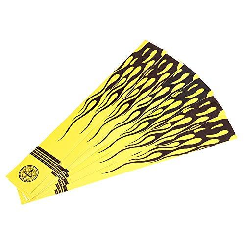 Tihebeyan Universal Bogenschießen Pfeil Wraps Aufkleber, 12 Stück Pfeilschaft Aufkleber gelb Cresting Wraps Jagd Zubehör