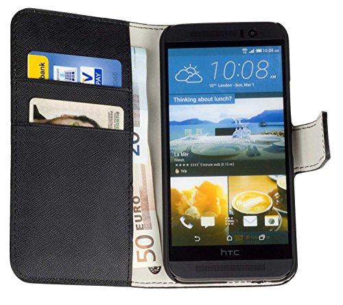 yayago Book Style Tasche für HTC One M9 / HTC One M9 Prime Camera Edition Hülle mit Kartenfächern Schwarz