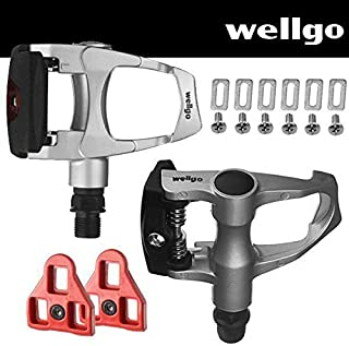 Wellgo Bike Look Delta (9 Degree Float) Compatible - Indoor Cycling & Road Bike Bicycle Pedal Set