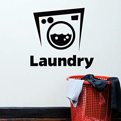 HGFDHG Lavadora calcomanías de Pared lavandería Servicio de Limpieza en seco tapicería Logo Puertas y Ventanas Pegatinas de Vinilo Papel Tapiz
