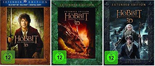 3D Blu-ray Set (+2D) * Der Hobbit Trilogie Teil 1+2+3 je Extended Edition * (Eine unerwartete Reise+Smaugs Einöde+Die Schlacht der fünf Heere)