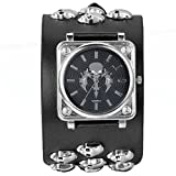 JewelryWe Halloween Leathernk Rock Collection Black Heavy Men's Skull Leather Strap Band Watch