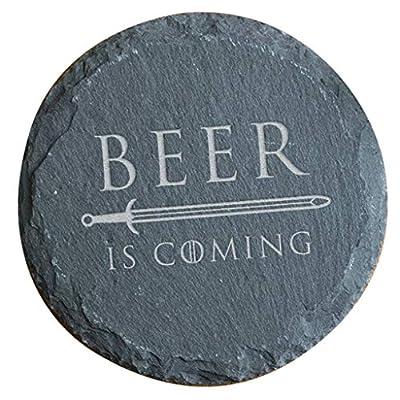 Beer is Coming Slate Coaster