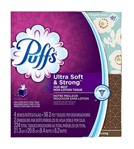 Puffs Ultra Soft Facial Tissues, 4 cubes, 56 tissues per box