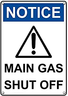 Weatherproof Plastic Vertical OSHA Notice Main Gas Shut Off Sign with English Text and Symbol