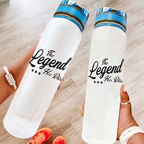 BBOOUAG The Legend Has Retired - Botella de agua deportiva de 32 onzas para lavavajillas, botella de camping, botella de deporte, botella de yoga, mejor regalo para amado blanco, 1000 ml