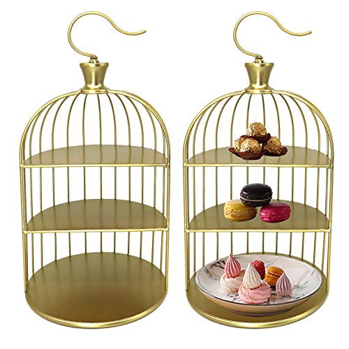 FEOOWV 2 Pcs 3-Tier Gold Cake Stands with Bird Cage Shaped, Metal Cupcake Stand for Party Dessert Fruits Display