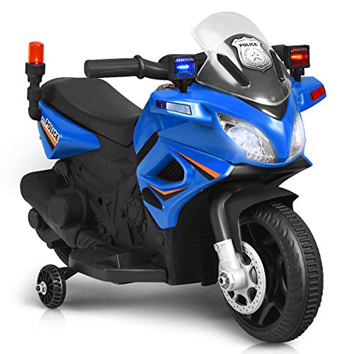 Costzon Kids Police Motorcycle, 6V Electric Battery Powered Ride On Bike w/ Training Wheels, Police Lights & Siren Sound, Headlights & Music, Pedal, Rechargeable Electric Toy for Boys & Girls (Blue)