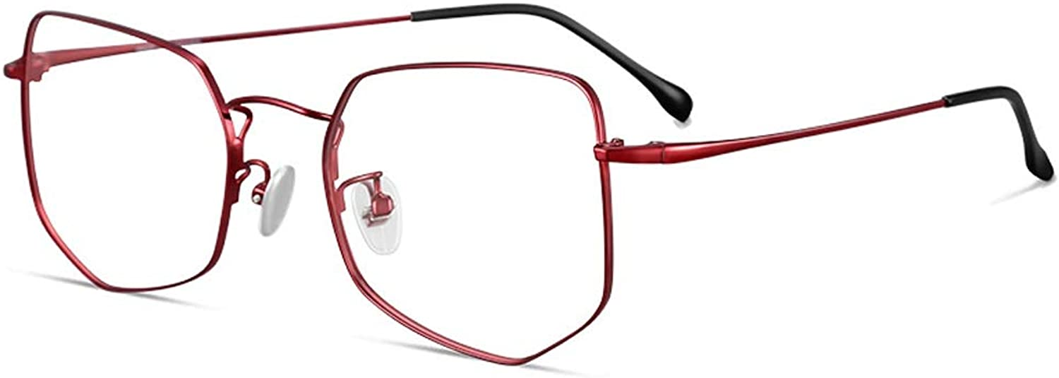 bluee Light Blocking Glasses Radiation Predection Computer Glasses Female Geometric Polygon Personality Eye Frame Male Tide ZHAOSHUNLI (color   Wine red)