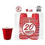 20er Pack Offiziellen Red Shot Cups | Amerikanische 4cl Shots rot | Beer Pong | Premium Shooter |...