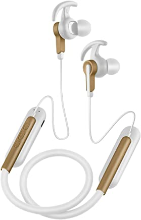 Wireless Headphones Flexible Neckband Sports Bluetooth 4.2 Incoming Vibration in Ear HIFI Stereo Systems, White-Gold
