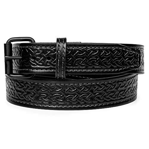 Gun Belt - Celtic Pattern - 18oz Steel Core - 36 Inch - Black - Flat Black