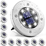 Solpex Solar Lights Outdoor 12 Pack, 8 LED Solar Ground Lights Waterproof Landscape Lawn Lighting for Garden Yard Deck Walkway Patio Pathway (White)