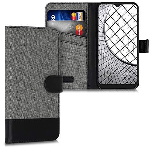 kwmobile Hülle kompatibel mit Alcatel 3L (2020) - Kunstleder Wallet Hülle mit Kartenfächern Stand in Grau Schwarz